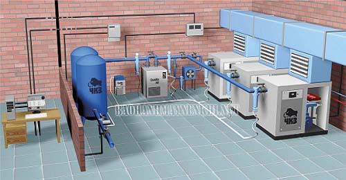 Sơ đồ hệ thống khí nén trong công nghiệp